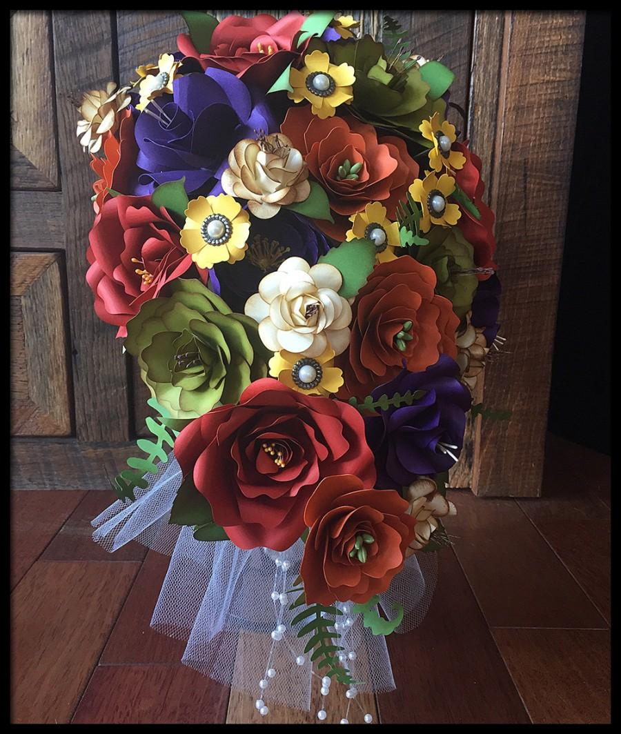 Autumn Wedding Bridal Bouquet Paper Flowers Fall Colors - Ready To ...