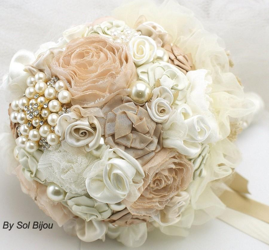 Wedding - Brooch Bouquet, Tan, Beige, Champagne, Cream, Ivory, Vintage Style, Elegant Wedding, Bridal, Jeweled, Fabric, Pearls, Crystals, Gatsby