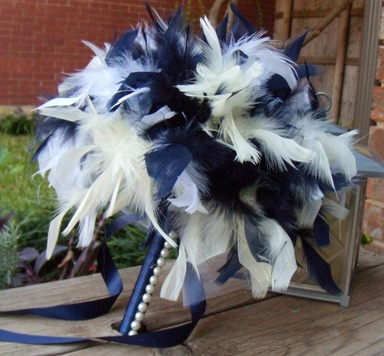 Feather Bridesmaid Bouquets Pale Yellow Navy Blue And White Or