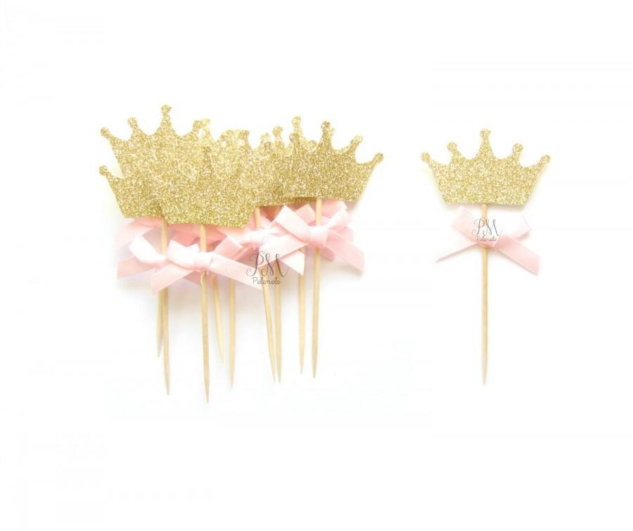 Свадьба - 12 Pink Bow & Gold Glitter Crown Cupcake Toppers - Crown Cupcake Toppers, Birthday Cupcake Topper, First Birthday Cupcake Toppers