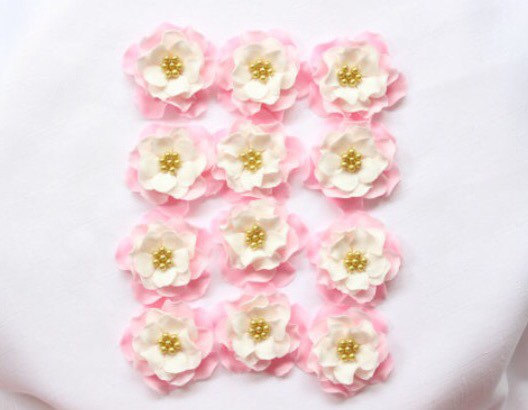 Wedding - fondant flowers, 12 Vintage pink white gold Ombre edible flowers cake  topper cupcake toppers decorations  wedding bridal shower shower