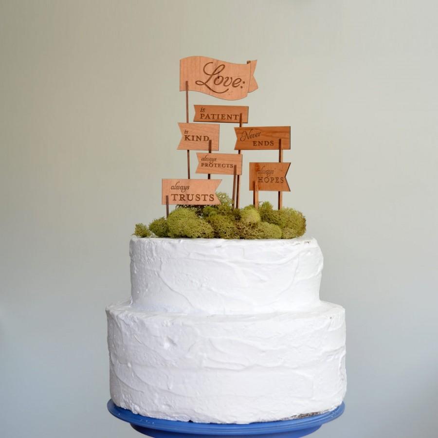 زفاف - Love is Patient, Love is Kind Keepsake Wooden Cake Topper