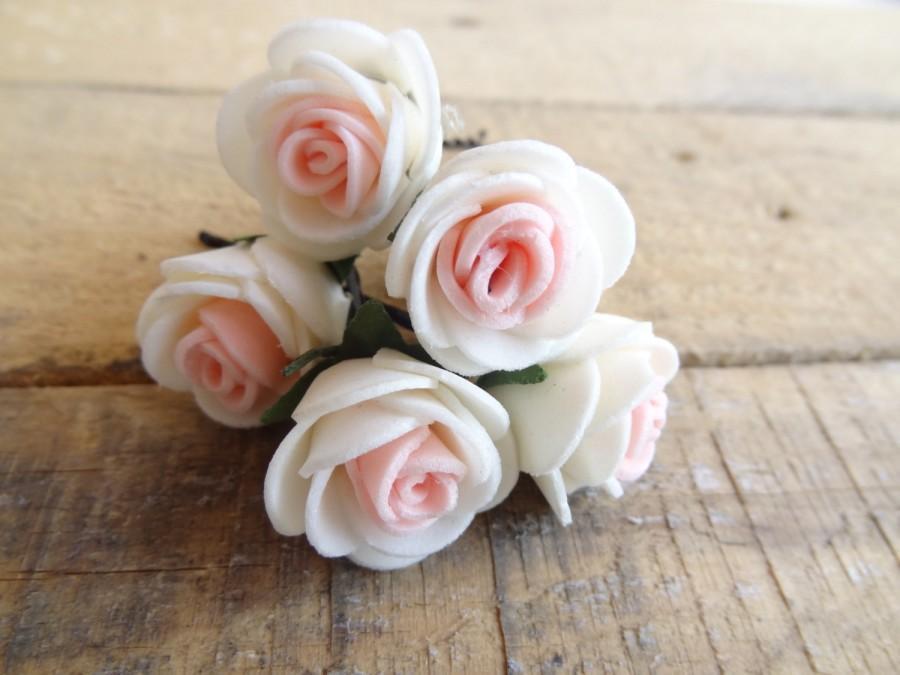 Свадьба - Ivory Pink Rose Wedding Hair Pins, Ivory Bridal Hair Pins, Hair Accessories, Bridesmaid Hair, Woodland - Set of 6