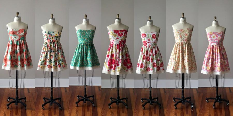 Wedding - Floral Bridesmaid Dresses / Handmade / Floral / Custom / Wedding / Rustic / Mismatched / Bridesmaids / Vintage Inspired Dress