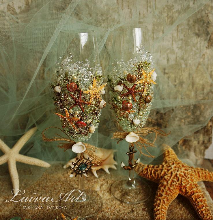 Wedding - Personalized Beach Wedding Champagne Glasses Wedding Champagne Flutes Wedding Toasting Flutes