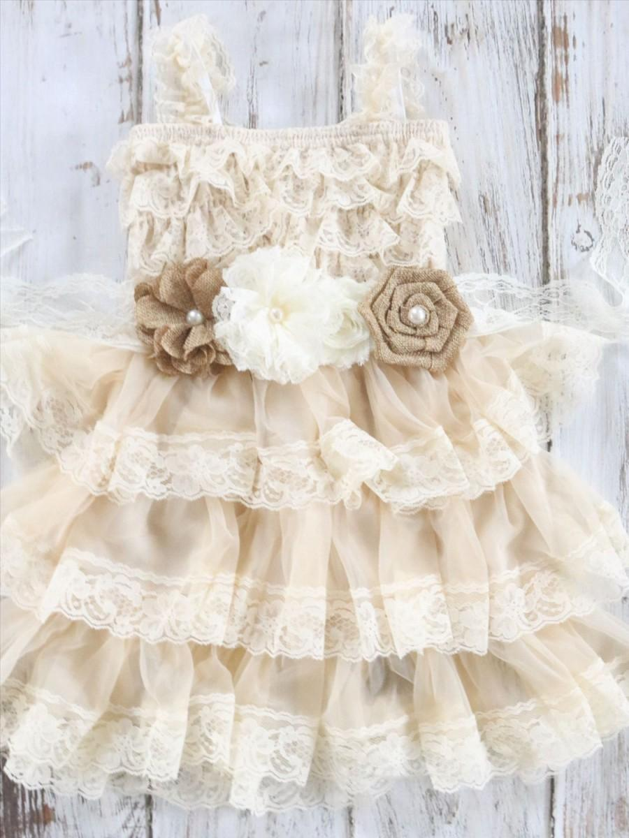 Burlap and lace flower girl dress country chic dress for Country wedding flower girl dresses