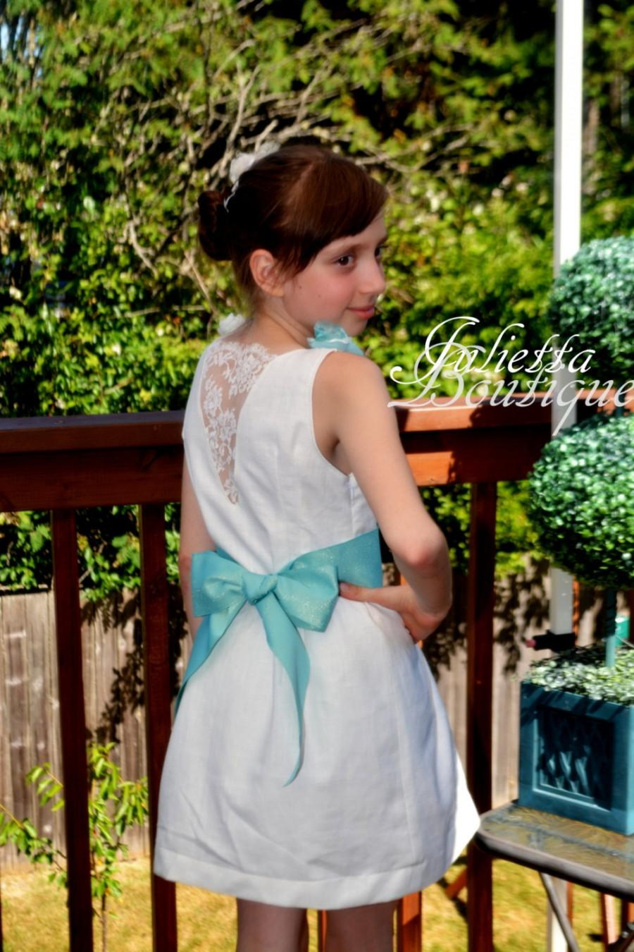 Short Linen Dress With Fabric Flowers. Flower Girl Dress For A Beach ...