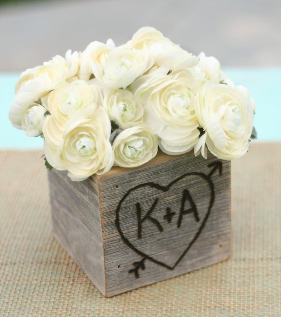 Wedding - Rustic Barn Wood Planter Vase Wedding Shabby Chic Personalized (item E10528)