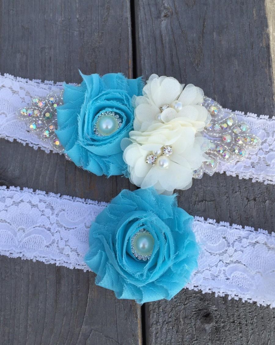 Wedding - Aqua // Mint // wedding garter set // Choose your color // rhinestone garter // Plus Size Any size