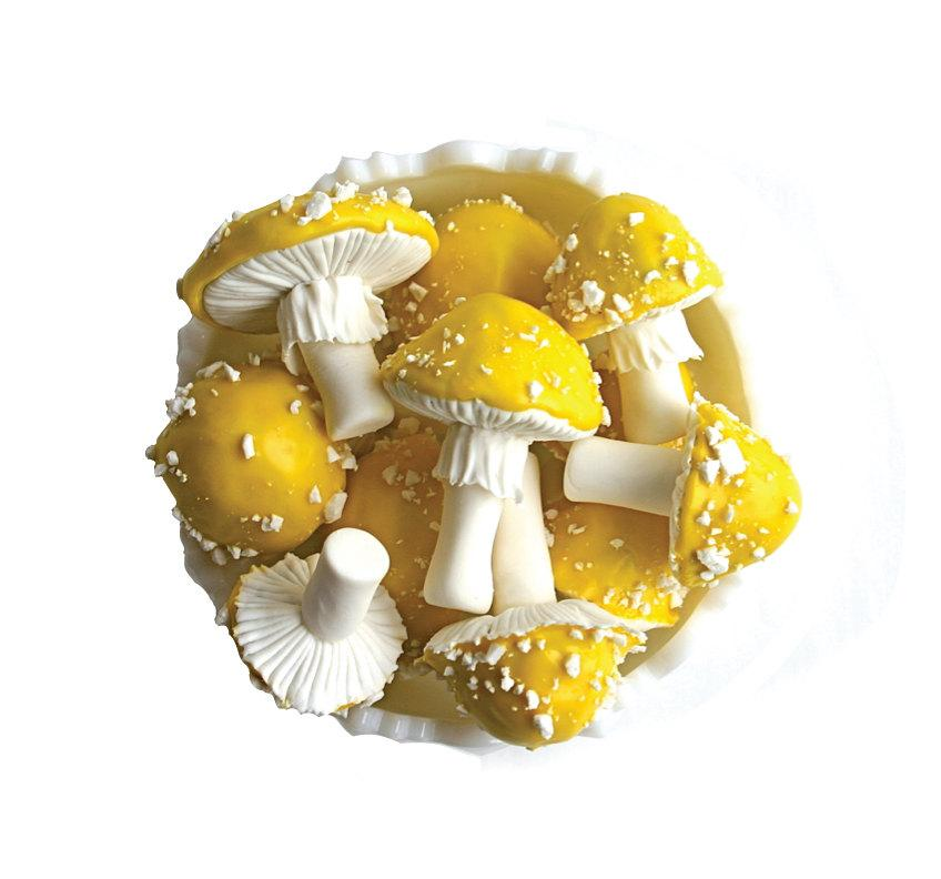Mariage - Chocolate-Espresso Filled, Candy Toadstools - Yellow Fly Agaric/Amanita/Toadstool