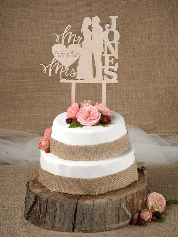 Mariage - Rustic Cake Topper, Wedding Custom Cake Topper, Wood Cake Topper,Bride and Groom, Personalized Cake Topper,
