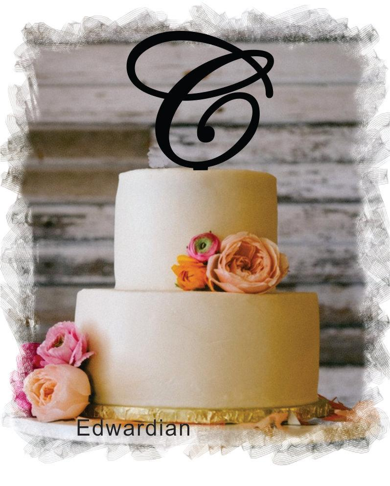 "Mariage - Monogram Wedding Cake Topper - 5""or 6"" Beautiful Single Monogram letter Cake Topper ( Special Custom Made Initial Wedding Topper )"