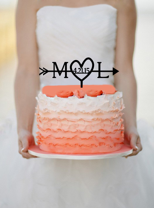 Mariage - Initials Heart and Arrow Cake topper with date