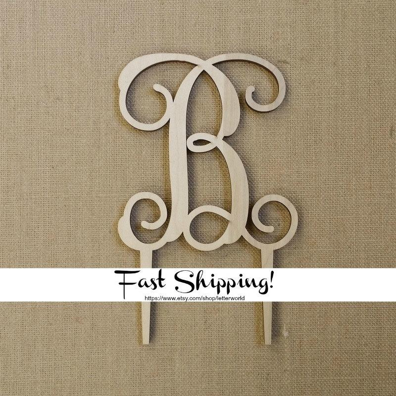 Mariage - Wooden Initial Cake Topper - Unfinished Vine Script Initial Cake Topper - Wedding Cake Decor - Initial Cake Topper - Personalized Topper