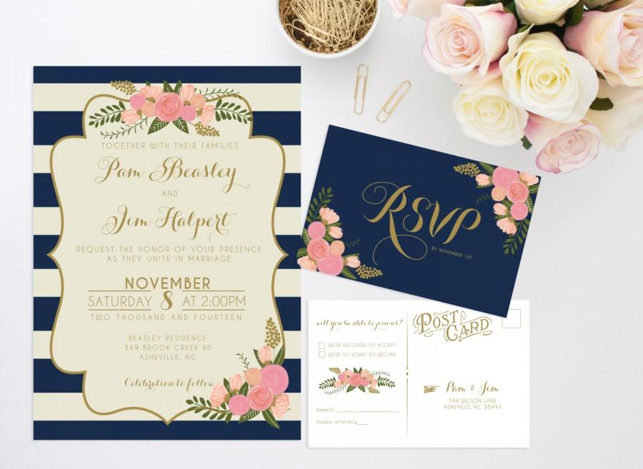 Printable Wedding Invitation Bundle Stripe Floral Invite – Nautical Wedding Invite