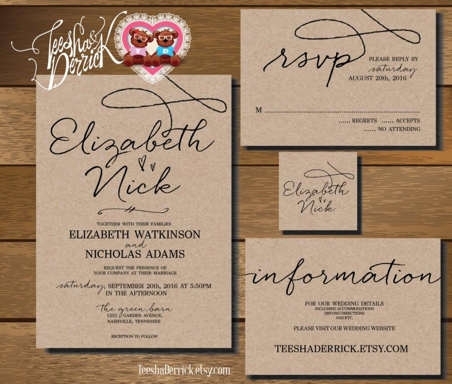 Custom Printable Wedding Invitation Suite W0210