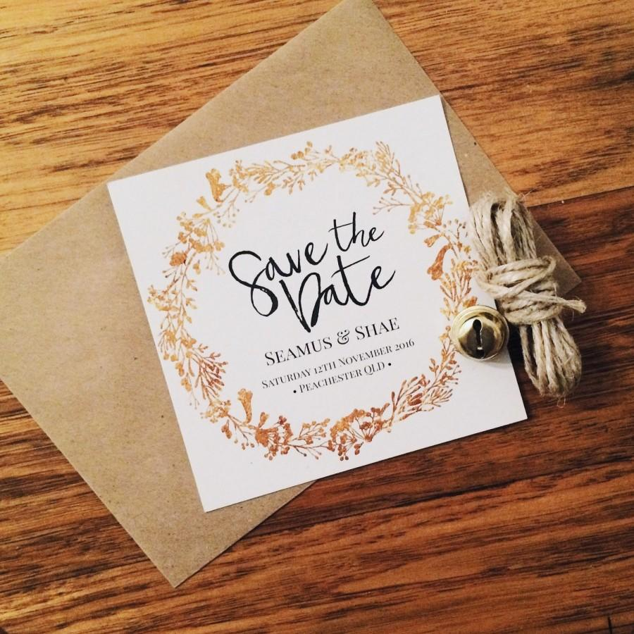 Mariage - 100 Save the Date Cards - Customisable - 100% Recycled Card 300GSM - Gold - Copper - Silver - Blessing & Honour