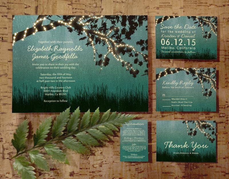 Garden Lights Wedding Invitation Set/Suite, Printed/Printable ...