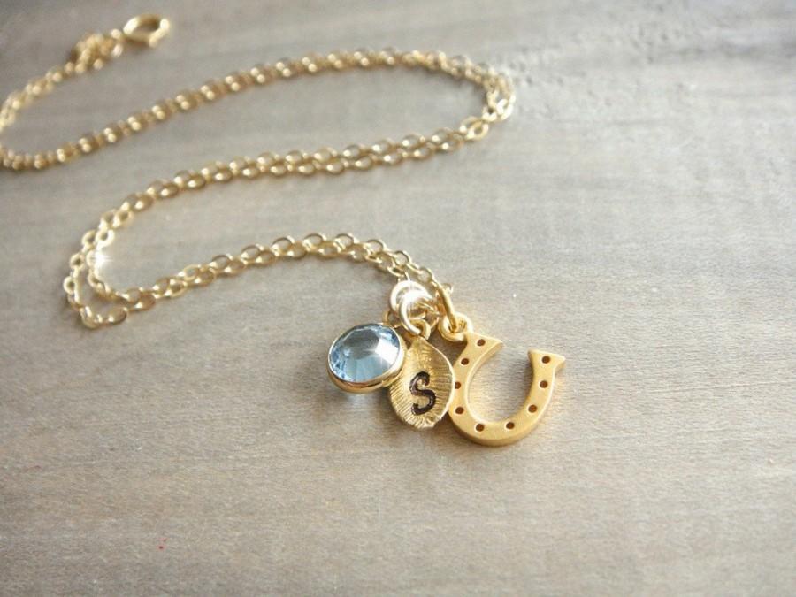 زفاف - Personalized 24K Gold Vermeil Lucky Horseshoe Necklace - Hand Stamped Letter and Birthstone