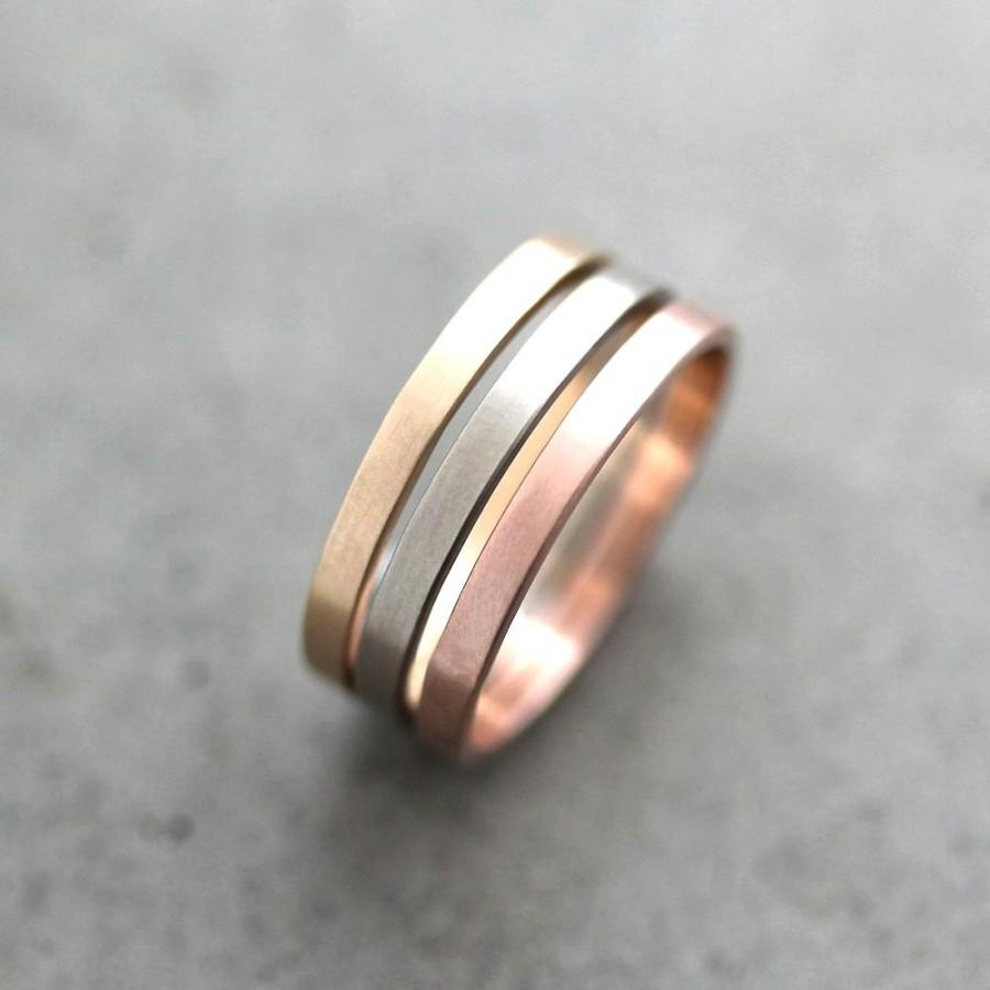 Gold Wedding Band Stacking Rings Mixed Metal 2mm Recycled 14k Yellow Rose Palladium White Made To Order