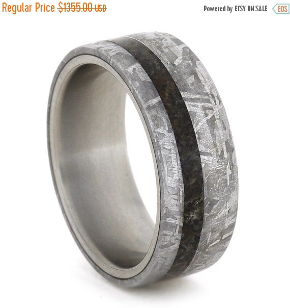 Mariage - Wedding Sale Meteorite Wedding Band Ring Dinosaur Bone, Titanium Ring, Men's Wedding Band, Custom, Personalized, Handmade Ring
