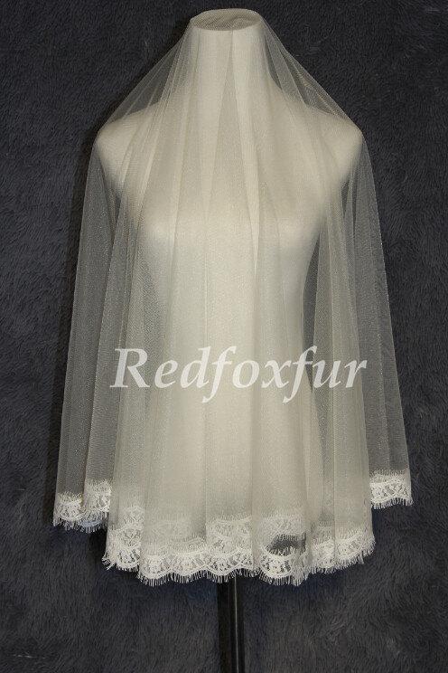 Mariage - Bridal Veil 1T Ivory or white Lace edge veil 1.5m Wedding dress veil Wedding Accessories No comb