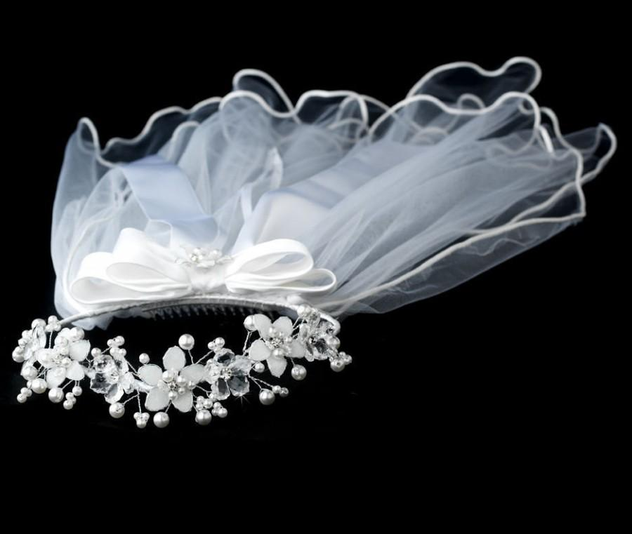 Wedding - First Communion veil for Girls white color-2 tiers