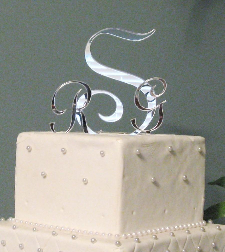 Mariage - Three Letter Monogram Cake Topper for Wedding Cake Letters