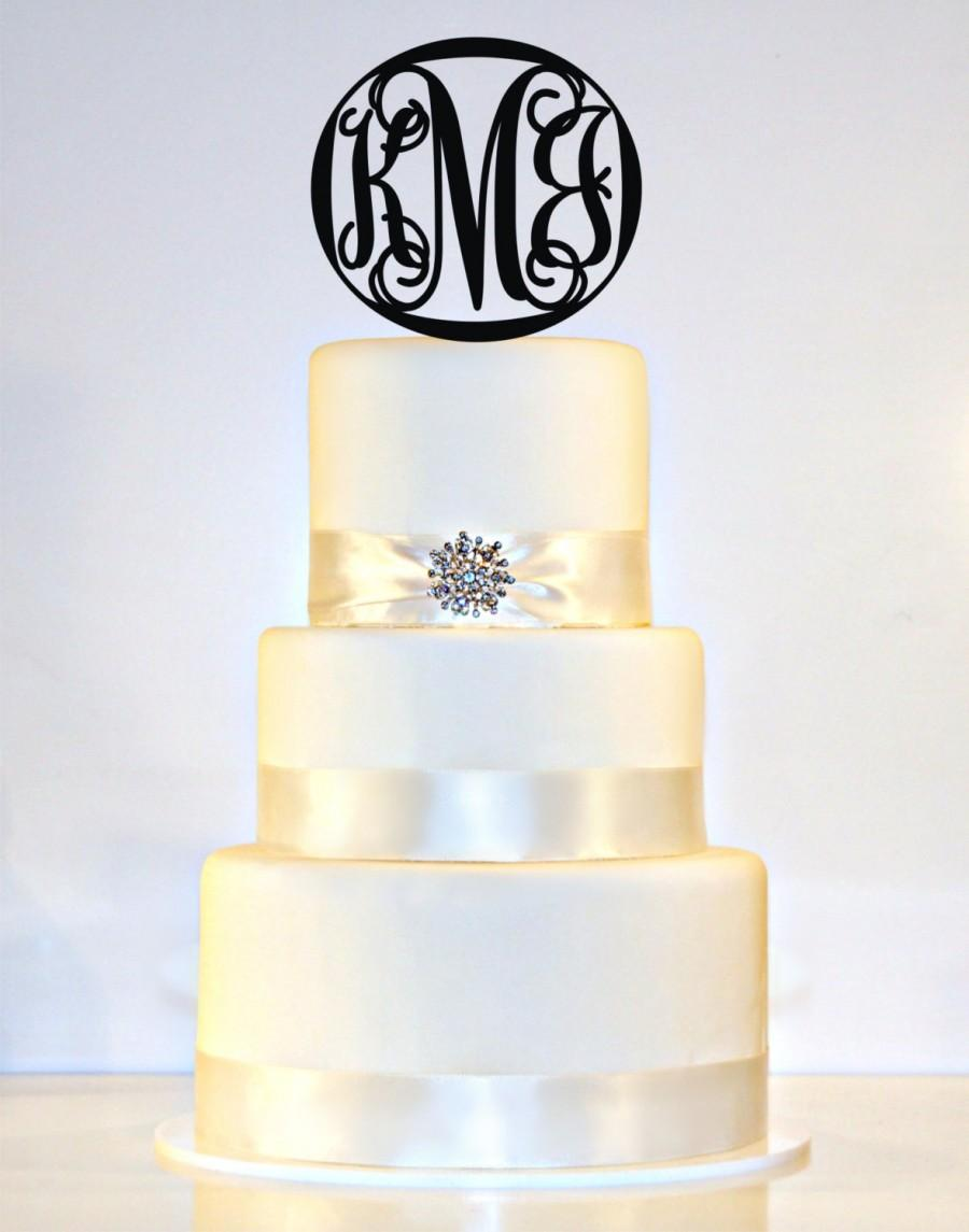 "Mariage - 6"" Personalized Custom Wedding Monogram Cake Topper"