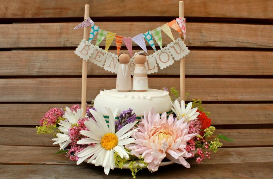 Wedding - M R & M R S B U N T I N G for your Custom Wooden Bride and Groom Wedding Couple Cake Topper