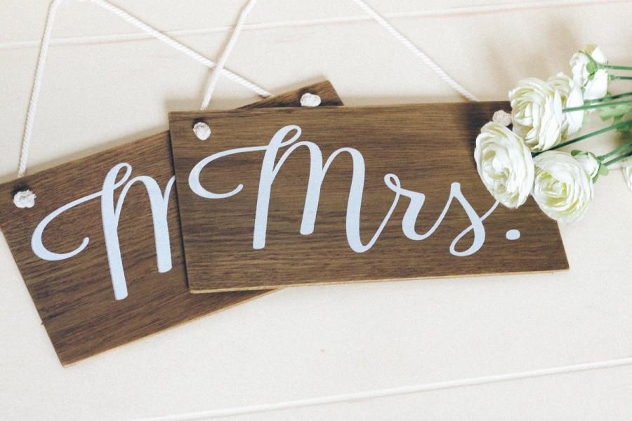 Mr And Mrs Signs, Rustic Wooden Wedding Signs, Wedding Chair Signs ...