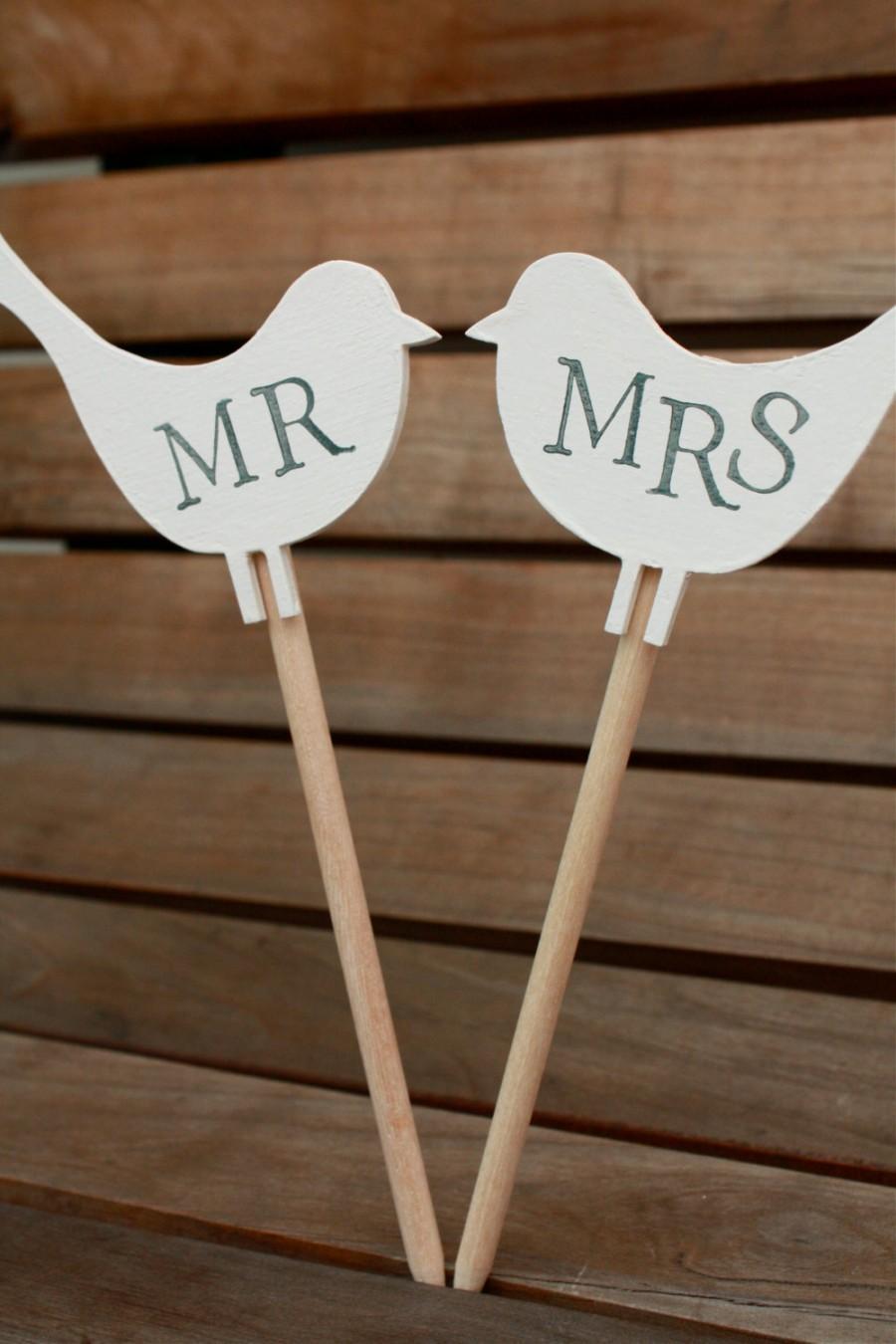 Mariage - M R & M R S  L O V E  B I R D S for Wedding Cake Topper