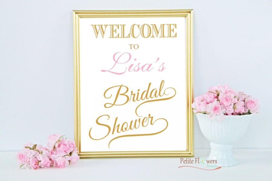 Свадьба - Gold Welcome Bridal Shower Sign - Bridal Shower Decoration - Personalize Name & Custom Color