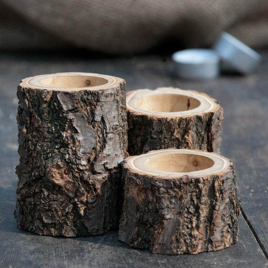 Wood candle holders rustic holder wedding