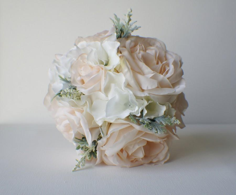 Silk Wedding Bouquet Bride Blush Roses Hydrangeas Vintage Inspired Rustic Bridesmaid