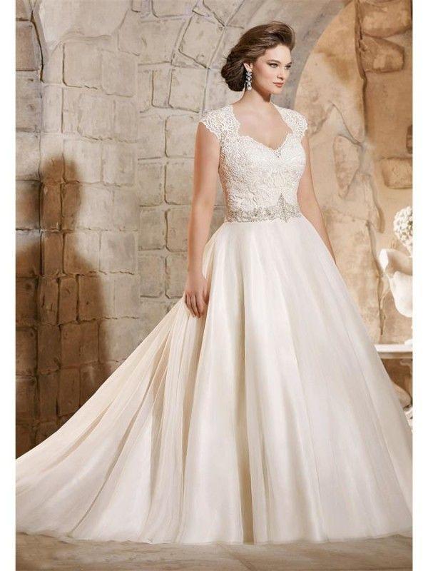Mariage - A Line Bodice Appliques Sheer Romantic Wedding Dress