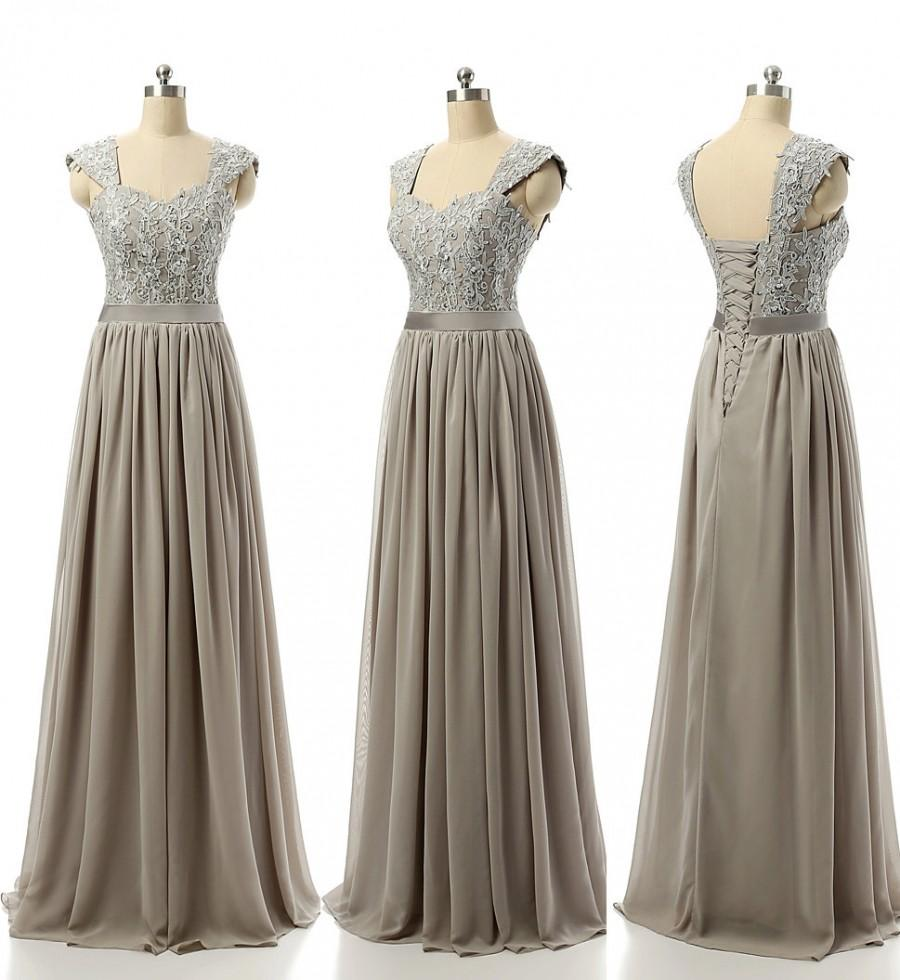 Свадьба - Bridesmaid Dress Grey Color Wide Strap Sequin beaded Lace Applique Sweetheart Neck Lace Up Back Floor Length Bridesmaid Gown