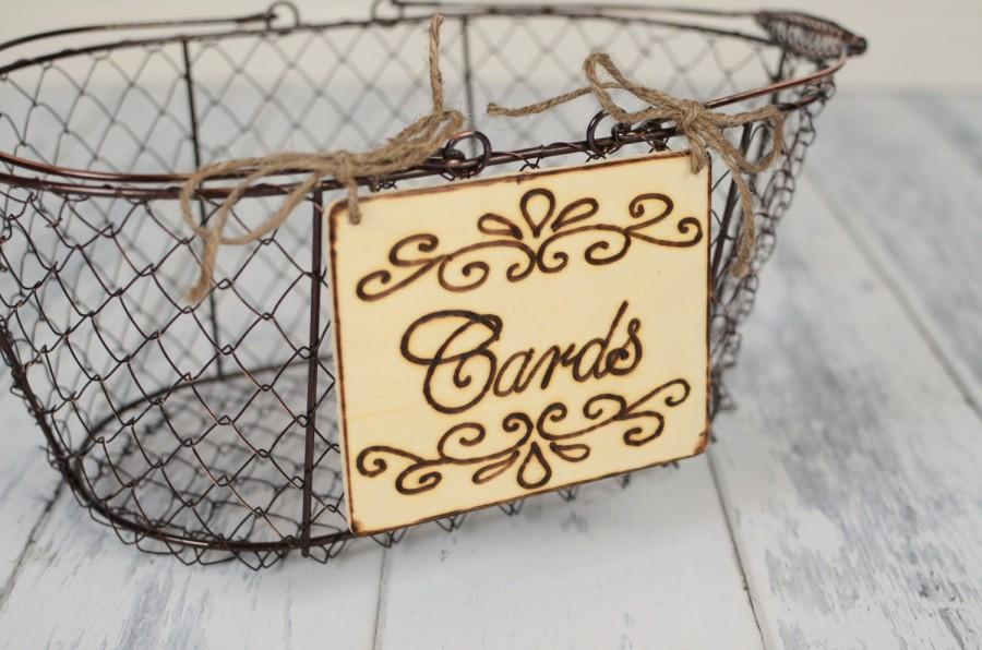 "Wedding - Rustic Wedding ""Cards"" Sign WITH WIRE BASKET   for Your Rustic, Country, Shabby Chic Wedding- Ready to Ship"