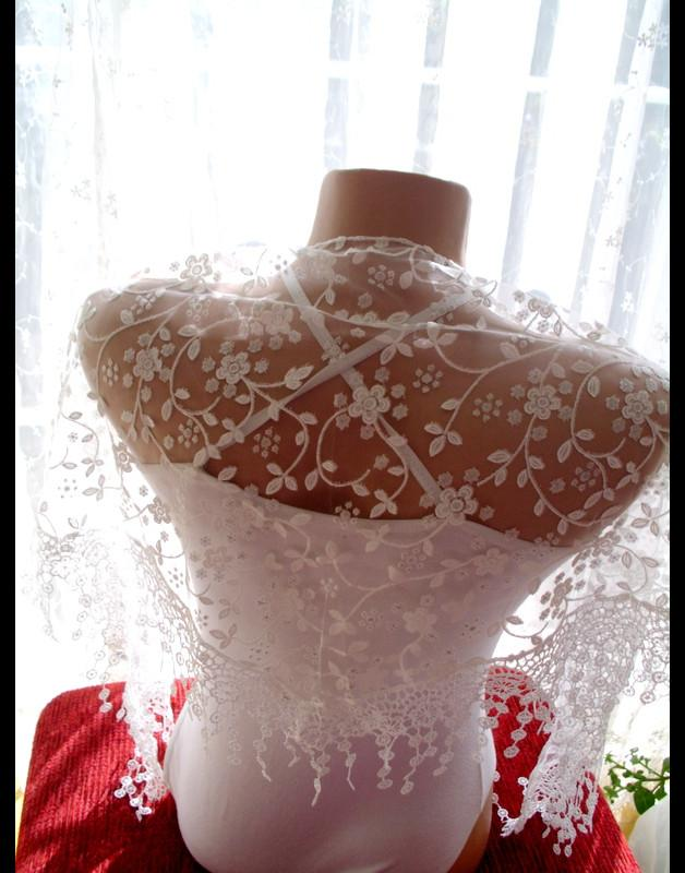 Wedding - Lace shawl white shawl Lace Fringe Scarf