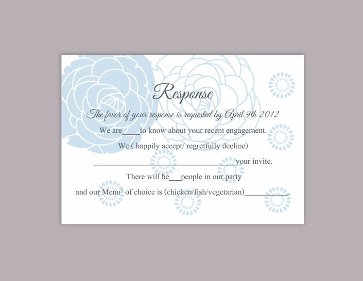 Diy Wedding Rsvp Template Editable Word File Instant Printable Cards Fl Aqua Blue Card Rose