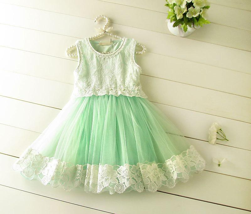 Mint Green Tulle Lace Girl Dress Elsa Inspired Dress Frozen