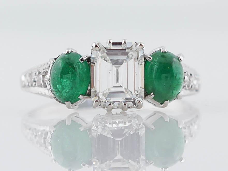 Mariage - Antique Engagement Ring Late Art Deco .76ct Emerald Cut Diamond with Cabochon Emerald Accents in 18k White Gold