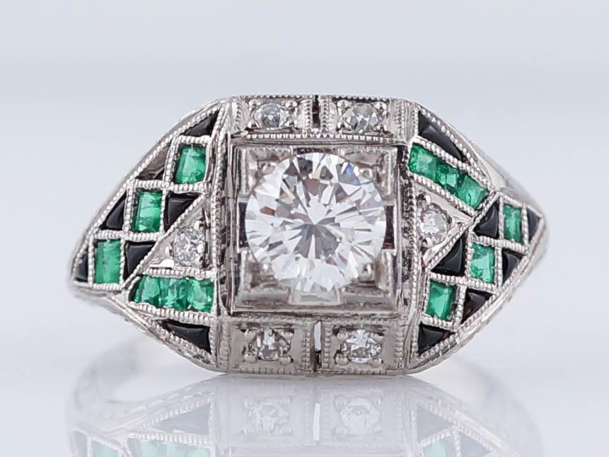 Mariage - Art Deco Style .60ct Round Brilliant Diamond Engagement Ring with Emerald and Onyx Accent Stones in Platinum