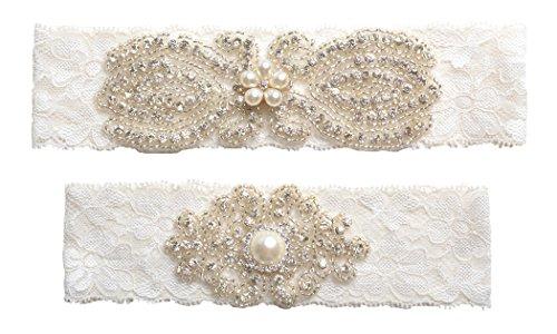 Wedding - Rhinestones Lace Wedding Garter Belt Set
