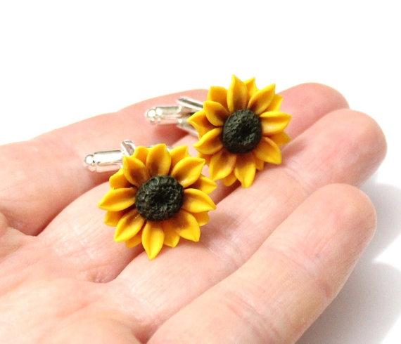 Свадьба - Cufflinks Sunflower, Jewelry Gift, Cufflinks Mens, Cufflinks Wedding, Men's Accessories, Gift Boxed