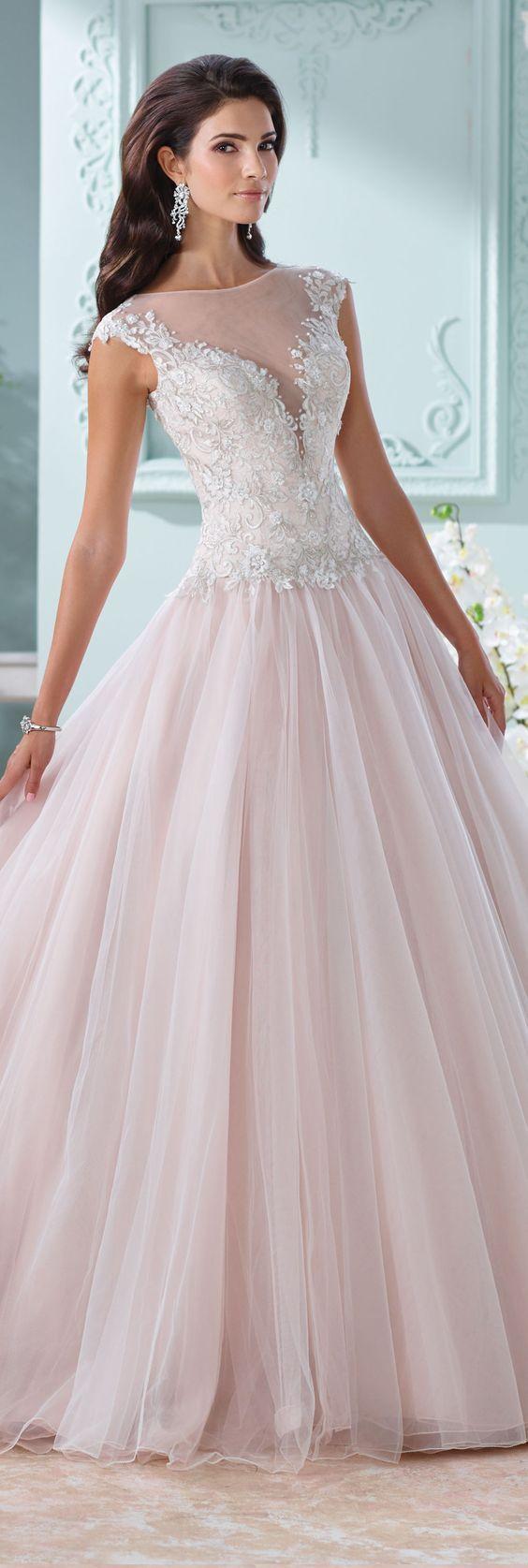 Wedding - Wedding Dress With Illusion Neckline