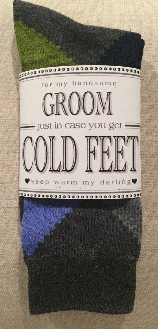 "Wedding - Fabulous Groom's Wedding Gift From Bride Gray Designer Van Heusen Argyle Groom Dress Socks With Label ""Just In Case You Get Cold Feet"""