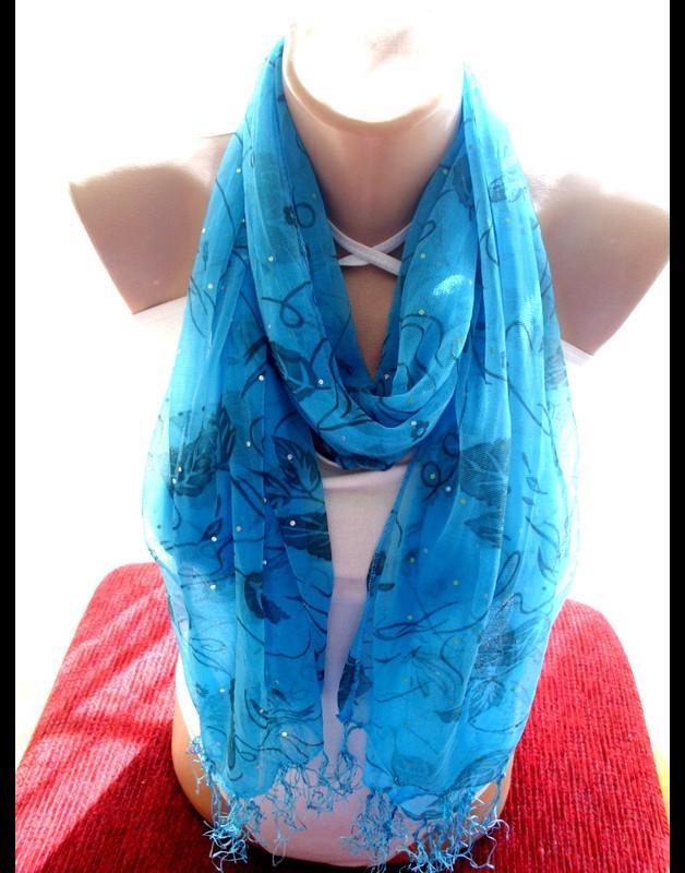 Mariage - Strahlend blauer Spitzentuch infinity Schal türkis