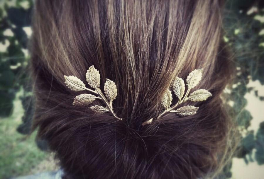Mariage - Gold Leaf Branch Bobby Pins Leaf Branch Hair Clips Grecian Hair Bridal Hair Spring