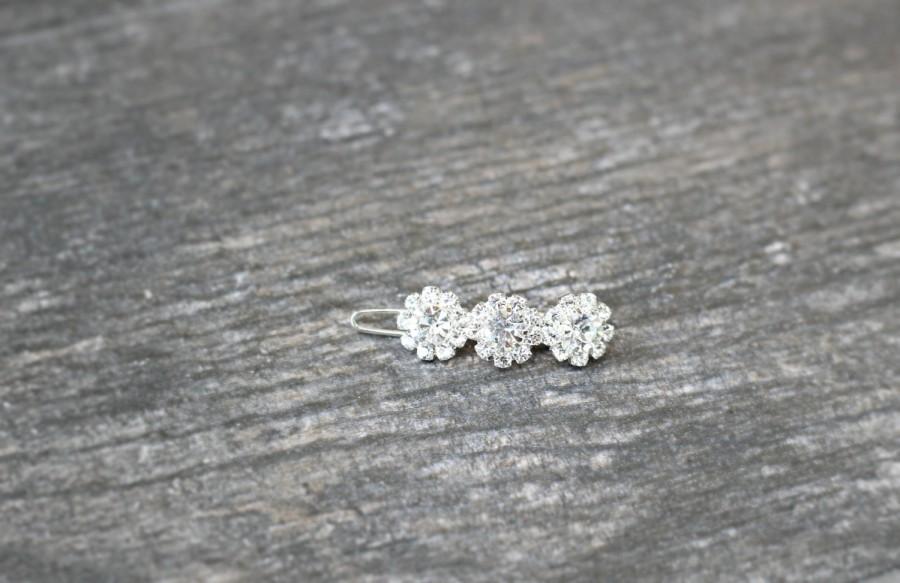 Mariage - Tiny Swarovski Crystal Barrette, Small Swarovski Crystal Flower Girl Barrette, ADÈLE Small Diamante Barrette, Fine Hair Bridal Barrette